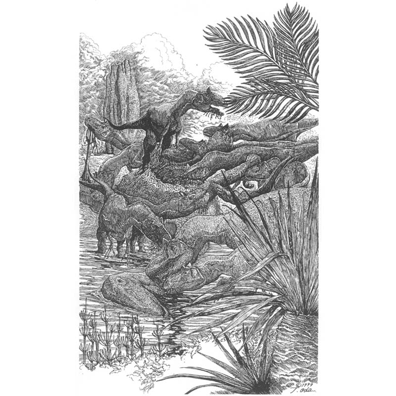 竜脚類の遺体を貪るアロサウルス